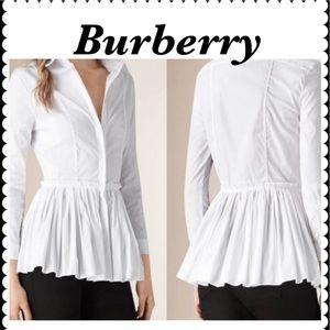 Burberry Women's White  Pleated Peplum Blouse